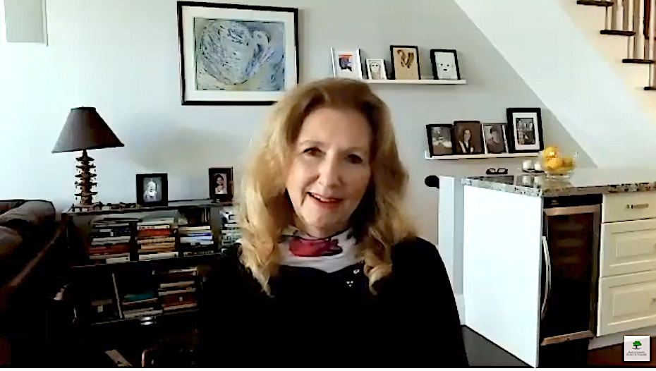 Mary Gordon speaking to camera
